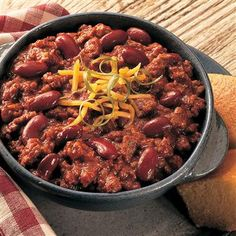 All-American Chili: A bowl of warm chili is satisfying comfort food on a cold day. For informal get-togethers, serve in a slow cooker to keep it warm.
