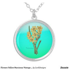 Flowers Yellow Narcissus Vintage Bouquet Round Pendant Necklace