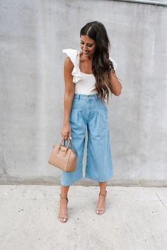 Bodysuit Styled 3-Ways - Wide Leg Culottes with sandals