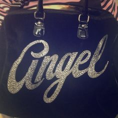 Victoria's Secret Angel Bag Listed edition! Angel in gems on outside, inside is amazing- it's a VS angel in a silk material. Bottom and handles are patent leather. Zips shut Victoria's Secret Bags