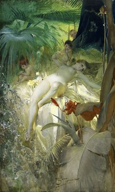 Love Nymph - Karleks Nymf a raunchy painting of a love nymph by Anders Zorn. Waiting for her desires to be filled. Kunst Online, Drawn Art, Pre Raphaelite, Oeuvre D'art, Erotic Art, Figurative Art, Les Oeuvres, Painting & Drawing, Art History