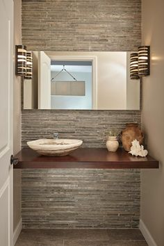Looking for Rustic Bathroom ideas? Browse Rustic Bathroom images for decor, layout, furniture, and storage inspiration from HGTV. Home Design, Interior Design Tips, Best Interior, Spa Design, Powder Room Storage, Blue Powder Rooms, Estilo Interior, Wood Countertops, Layout
