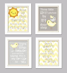 Nursery Quad Yellow and Gray Nursery Bird Nursery by ChicWallArt, $37.00