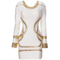 White Round Neck Long Sleeve   Beading Bandage Dress ($89) ❤ liked on Polyvore featuring dresses, white longsleeve dress, beaded dress, longsleeve dress, round neckline dress and long sleeve bandage dress