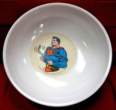 DC Comics SUPERMAN, 1966,Melmac Dinnerware,Kelloggs Cereal Bowl, Siegel & Shuster,National Periodical Publications