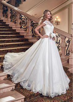 Buy discount Elegant Lace & Organza Satin Jewel Neckline A-line Wedding Dress at Dressilyme.com