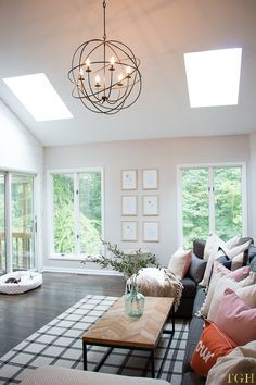 Welcoming Fall Home Tour : Vaulted ceiling living room. Neutral Home Décor Ideas. Vaulted Ceiling Lighting, Kitchen Ceiling Lights, Home Lighting, Vaulted Ceilings, Living Room Vaulted Ceiling, Rustic Lighting, Kitchen Lighting, Lighting Ideas, Living Room Light Fixtures