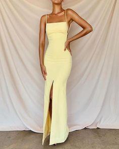 May 2020 - Sexy Prom Dresses Side Slit Prom Dress – classygown Deb Dresses, Pretty Prom Dresses, Grad Dresses, Cute Dresses, Evening Dresses, Mermaid Prom Dresses, Dress Prom, Yellow Ball Dresses, Spring Formal Dresses