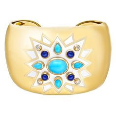 """Verdura """"Sunburst"""" Turquoise & Lapis Cuff Bracelet"""