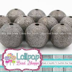 20mm Gunmetal Gray STARDUST Beads Sparkly by LollipopBeadShoppe