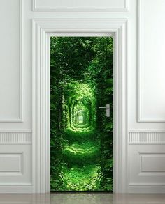 Door wall sticker forest green tunnel rabbit hole wanderland 30x79""
