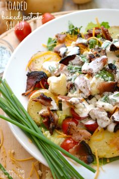 Loaded Baked Potato Salad with all the fixings!
