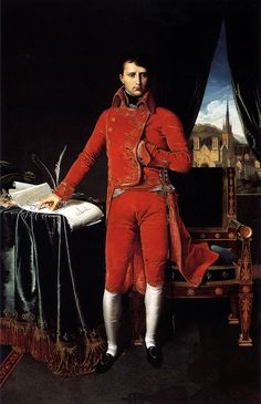 1803 Portrait of Napoleon Bonaparte as First Consul - Jean Auguste Dominique Ingres (French, - - French History, Art History, Masonic Signs, Costume Rouge, Napoleon Josephine, Empress Josephine, French People, Auguste, Famous French