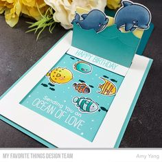 Stamps: BB Friends with Fins, BB Gill Friends Die-namics: BB Friends with Fins, BB Gill Friends, Slider Surprise Amy Yang Pop Up, Cloud Stencil, Slider Cards, Anna Griffin Cards, Window Cards, Interactive Cards, Fun Fold Cards, Mft Stamps, Letters