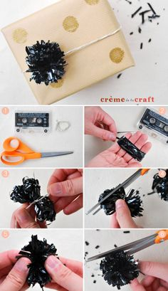 DIY: Pom Pom Gift Toppers from VHS & Cassettes (+ video tutorial)