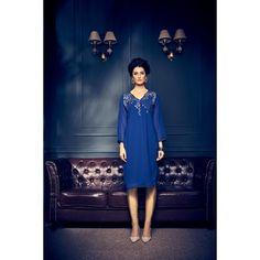 Sky blue embroidered rayon embroidered-kurtis at Mirraw. New Kurti, Latest Kurti, Embroidered Kurti, Royal Blue Color, Kurtis, High Neck Dress, Short Sleeve Dresses, India, Shirt Dress