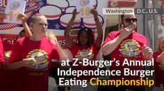 Mother of four wolfs down 21 burgers in 10 minutes in Washington's burger eating contest