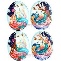 Black Mermaid Cameos! I so wanna use these.