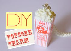Popcorn Box Charm - Polymer Clay Miniature Food Jewelry Tutorial