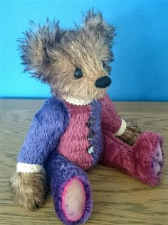 Traditional pink and purple mohair jointed artist by KittyBBears