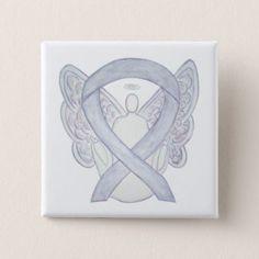 Gray Brain Cancer Awareness Ribbon Angel Custom Art Pins