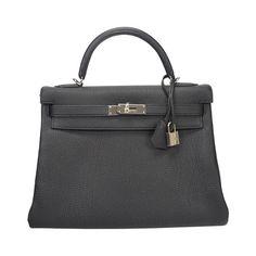 HERMES Kelly handbag black, Hardware palladium. | From a collection of rare vintage handbags and purses at http://www.1stdibs.com/fashion/accessories/handbags-purses/