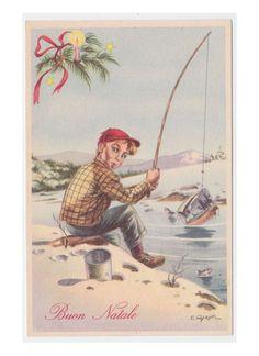 Non Viaggiata PARISI cartolina fp Natale vintage bambino pescatore canna  pesca