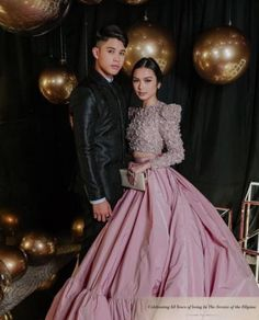 "First Time ever ng ""KyCine"" on Abs-Cbn ball 2019 at Red Carpet. Note: The date (Sept Sexy Evening Dress, Evening Dresses, Filipiniana Dress, Anime Scenery, Ulzzang, Squad, Panda, Red Carpet, Aesthetics"