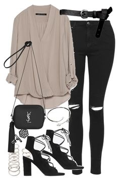 """""""Outfit for a night out"""" by ferned ❤ liked on Polyvore featuring Topshop, Zara, ASOS, Forever 21, Yves Saint Laurent, Cartier and Simply Vera"""