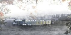 Article source: Kubna Lipensky Volf Architects Bath on Vltava is conceived as a closed rounded space, floating on the water surface. Floating object is accessible by the boat and it is not connecte...