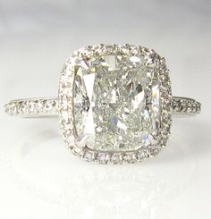 5.07ct Estate CUSHION Diamond Solitaire Engagement Pave Ring, Anniversary Ring , Wedding Band in Platinum EGL USA