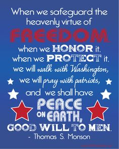 Freedom = Peace on Earth. 3 color versions. Free printable. Happy 4th of July!