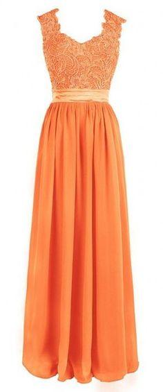 Olidress Women's Sleeveless Long Prom Bridesmaid Dress With Applique Orange US18