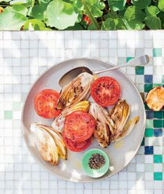 Grilled witlof and tomato recipe from South American Grill by Rachael Lane Tomato Recipe, Cooking On The Grill, Grilling, Salads, Spaghetti, Chicken, American, Ethnic Recipes, Drink