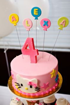 Hello Kitty cake, cupcakes, decorations...