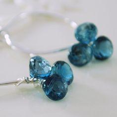 London Blue Topaz Earrings Sterling Silver Lotus by livjewellery, $92.00