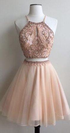 short homecoming dress, two piece homecoming dress, 2017 homecoming dress, pink homecoming dress, party dress. evening dress