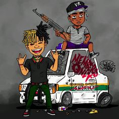 Here's I drawing I did of Xxxtentacion and Ski Mask The Slump God, my iPad was broken when i was making so I had to do most of the colors and stuff from my phone 😰😰😰😰 Dope Cartoon Art, Dope Cartoons, Cartoon Kunst, Swag Cartoon, Black Cartoon, Dope Wallpaper Iphone, Dope Wallpapers, Wallpaper Pc, Black Wallpaper