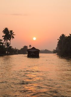 Sunset over the Kerala backwaters on a house boat