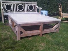 Concrete and Wood Coffee Table - Mecox Gardens