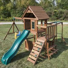 Swing-N-Slide Playsets KnightsBridge Ultimate Wood Complete Swing Set with Wood Roof and Monkey Bars-WS 8352 - The Home Depot Playground Swing Set, Backyard Playground, Backyard For Kids, Preschool Playground, Cedar Swing Sets, Swing Set Plans, A Frame Swing, Backyard Playset, Swing And Slide