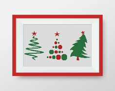 Three Christmas tree cross stitch pattern, Instant Download, PDF, Happy new Year cross stitch pattern, P159 by NataliNeedlework on Etsy