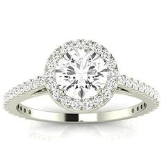 0.9 Cttw 14K White Gold Round Cut Classic Halo Style Pave Set Round Shape Diamond Engagement Ring with a 0.5 Carat I-J Color VS1-VS2 Clarity Center
