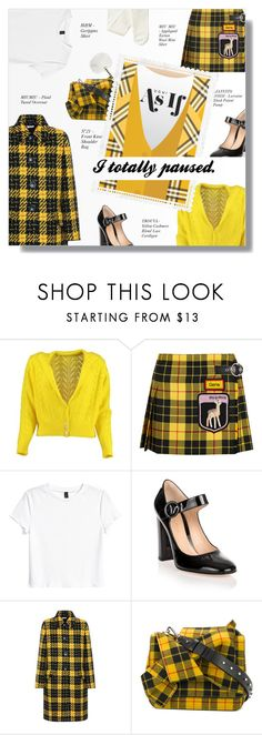 """AS IF"" by larissa-takahassi ❤ liked on Polyvore featuring Lowie, Miu Miu, H&M, Gianvito Rossi, N°21, tweed, tartan and clueles"