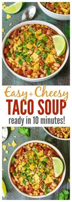 Cheesy EASY Taco Soup. Ready in 10 minutes and our entire family loves it! Simple, healthy, freezer-friendly, and great leftover too! Recipe at http://wellplated.com @Well Plated