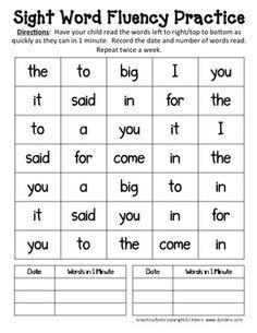 Sight Word Fluency Practice, free great idea!!