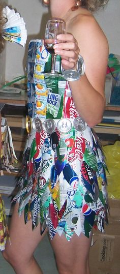 aluminum can dress, i don't think I will go that far for the party!