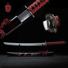 Tous les faits à la main Katana épée de samouraï japonais épée en acier au carbone alliage Tsuba à Long terne rouge gravé fourreau Home Decor cadeau épée dans Metal Crafts de Maison & Jardin sur AliExpress.com | Alibaba Group