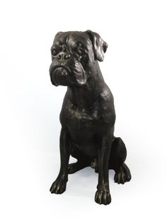 Boxer sitting dog natural size statue limited by ArtDogshopcenter