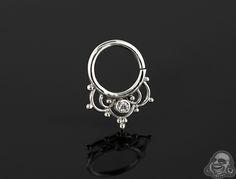 Sterling silver gemmed ornate seamless septum ring